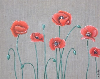 """""""Poppies"""" painting on canvas"""