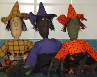 Primitive Little Witches - Charma, Dahlia and Arachnea Doll Digital Pattern from Sew Practical, Mom and Pop Craft