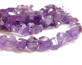 Full strand 15 to 20 MM Natural Amethyst Stone - Irregular Large Nugget Faceted Beads - February Birth Stone (MJAMW100)