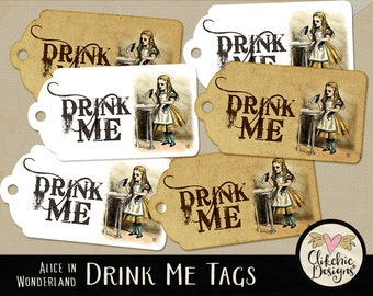 Alice In Wonderland Tags - Drink Me Tags Printable Sheet - Drink Me Tag Collage Sheet, Gift Tags, Birthday Tags, Printable Tags, Alice Tags