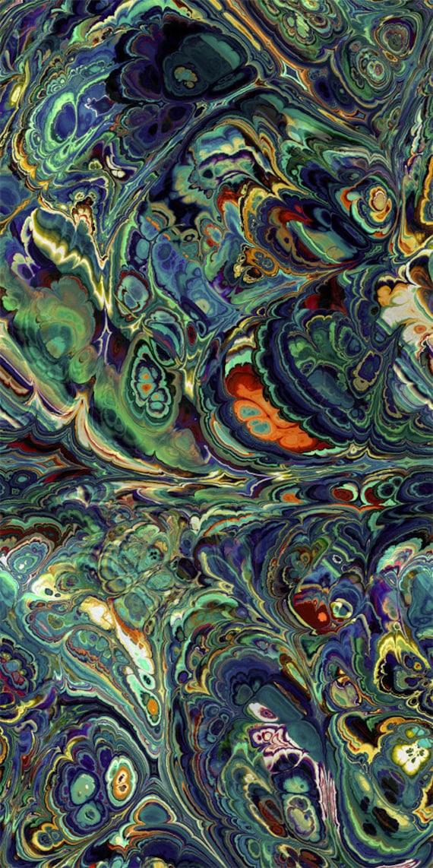 Artist Created Super Soft Minky Fabric Fiber Art Mixed Media Fabric Green Blue Craft Blanket