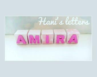 Personalised baby blocks, name blocks, baby name gift, new baby gift, pink baby gift, nursery decor, baby shower gift, wooden blocks