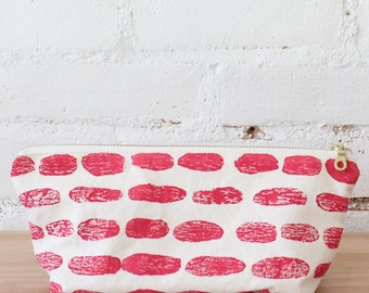 ruby red modern print gusset pouch makeup bag SALE