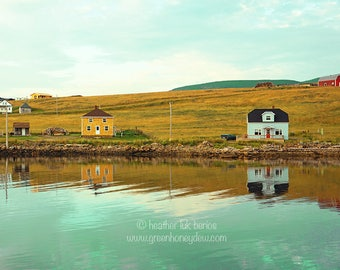 Houses on River - Wall Decor - Cape Breton Nova Scotia Fine Art Photography Print - Green, Teal, Aqua, Water, White, Yellow Houses, Canada
