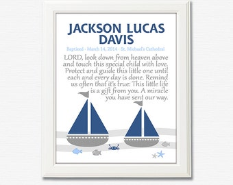 Blue, navy and grey nautical baptism art print - UNFRAMED - personalized baby boy baptism gift,  for godson, sail, fish, boat, crab