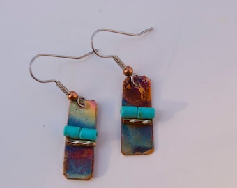 patina turquoise copper earrings by Zoeelle