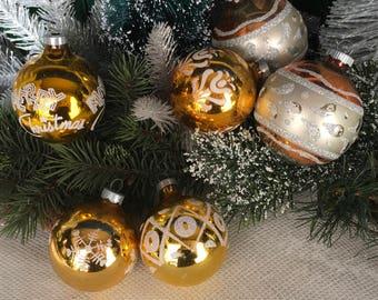 Vintage Christmas, 1940s Christmas, Gold, Set/6, Christmas, Shiny Brite Christmas Decor, Vintage Ornament, Glass Ornaments, Vintage, Antique