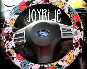 Steering Wheel Cover Sassy Minnie Mouse Fabric With Matching Keychain Option Car Accessories