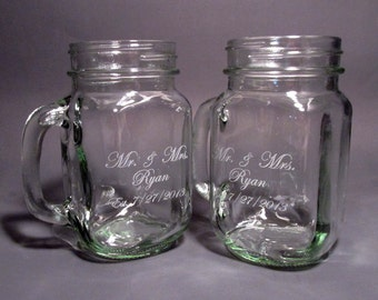 Personalized Mr and Mrs Mason Jars with Handles