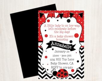 Ladybug Baby Shower Invitation, Ladybug Red and Black Invitation, Printable Invite, Ladybug, Ladybug Baby Shower, Girls Baby Shower Invite