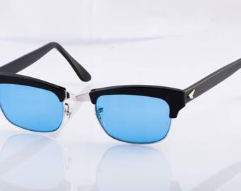 Bausch & Lomb Black Rim Glasses 1574 1/10 12K Gold Filled Custom Blue Lenses