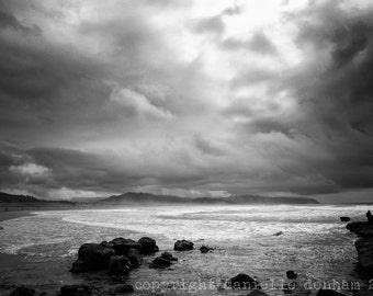 Beach Photography Oregon Coast Pacific City--Fine Art Black and White Photography 8x12