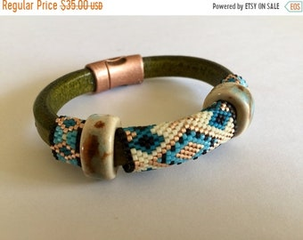 Half Price One week sale Leather with Lampwork Glass and Peyote Stitch Beads Bracelet