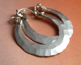 Forged Small Sterling Silver Hoop Earrings, Artisan Silversmith Jewelry, Small Argentium Earrings, Sterling Silver Hoops, Metalsmith Earring