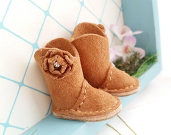 Blythe Mini Caramel Brown Suede Leather Wide Shaft Boots Azone Pure Neemo M S Size Body Hand Made By MizuSGarden