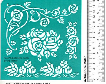 "Stencil Stencils Pattern Template, Reusable, Adhesive, Flexible, Stencils for polymer, fabric, wood, glass, cards | ROSE BRANCH | 6"" 15cm"