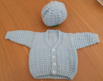 Baby Blue Hand Knitted Boy's Cardigan &  Hat. Layette Gift Set. 6 Months