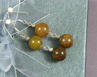 Earrings 2X Wood Agate 12mm Round Beads 925 ESAW1215