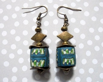Teal, Green and Ivory Ethnic Boho Earrings (3189)