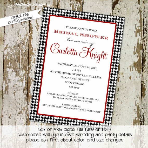 Couples Bridal Invitation coed party wedding Rehearsal Dinner Stock the Bar After Party black white red houndstooth | 364 Katiedid designs