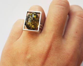 Handmade Baltic Amber ring 6g.