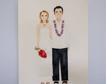 Custom Wedding Portrait, Original Couple A4 Watercolour Portrait