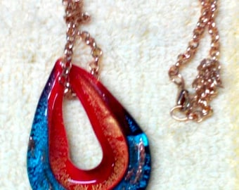 Necklace,Red & Blue Glass Pendant, Gold Chain, 23-26 inch length,