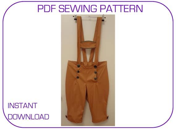 Lederhosen pattern PDF sewing pattern Lederhosen 3 sizes available for waist 28-34 inches