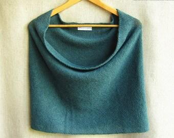 knit infinity scarf cowl wrap snood in teal alpaca lambswool
