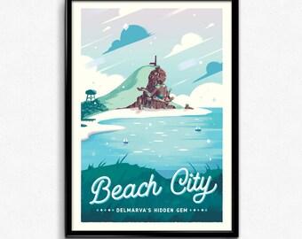 Beach City - Steven Universe Retro Travel Poster Print