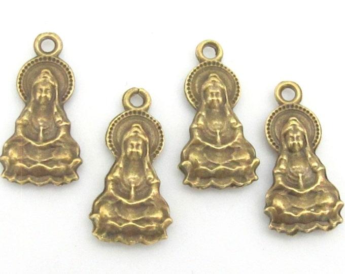 5 charms -  Reversible Brass tone Seated on lotus meditation Buddha charm pendants 25mm x 13mm -  CM012s