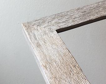 Rustic White Wash Reclaimed Cedar Picture Frame - Choose your small frame size 3x3, 3.5x5, 4x4, 2x6, 4x5, 4x6, 5x5, 5x7, 6x6, 7x7, 6x8, 4x10
