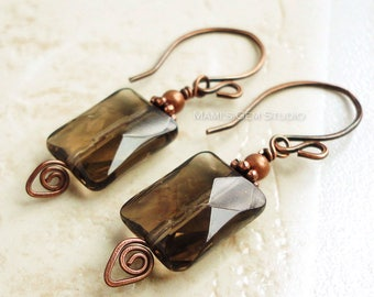 Faceted Smoky Quartrz and Antiqued Genuine Copper Earrings, Handmade Gemstone Jewelry