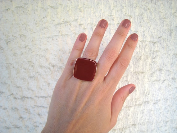 Dark Red ring, wine red resin ring, marsala burgundy garnet red glass ring, big chunky square ring, modern minimalist, stainless steel ring
