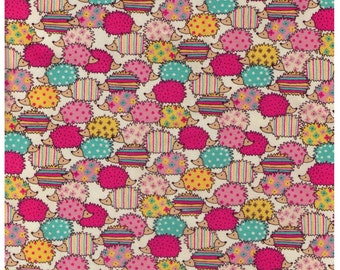 HALF YARD Kokka Trefle - Rainbow Hedgehogs - Pink Aqua Blue and Yellow - Polka Dots, Stripes, Stars, Plus Signs - Imported Japanese