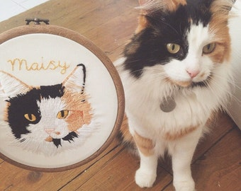 "Large custom embroidered pet portrait - embroidered hoop art, 6"""