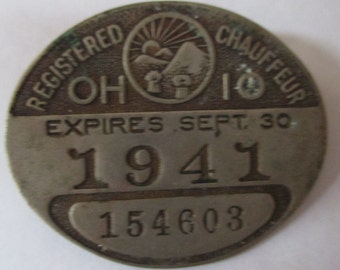 1941 Ohio Registered Chaffeur license pin