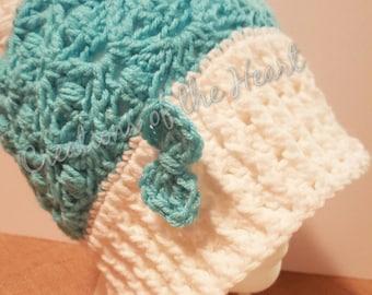 Adaline Slouch Hat, Crochet PomPom Hat, Crochet Slouch Hat, Ribbed Brim hat, Crochet Slouch Hat