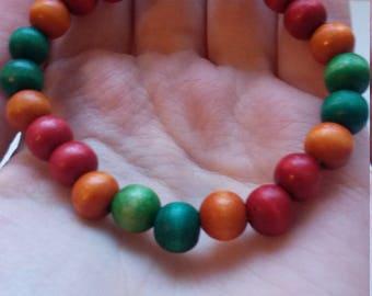 Multicoloured wooden beaded bracelet