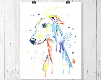 GREYHOUND PRINT, greyhound art, greyhound painting, greyhound watercolour, dog art, dog print, dog painting, dog watercolour, dog watercolor