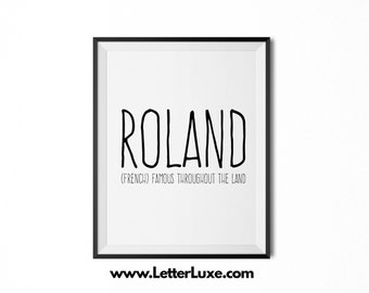 Roland Printable Kids Gift - Name Meaning Art - Baby Shower Gift - Nursery Art - Digital Print - Nursery Decor - Typography Wall Decor