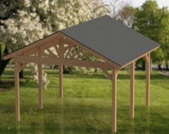 Gable Roof Gazebo Building Plans 16'x16' Perfect for Spas