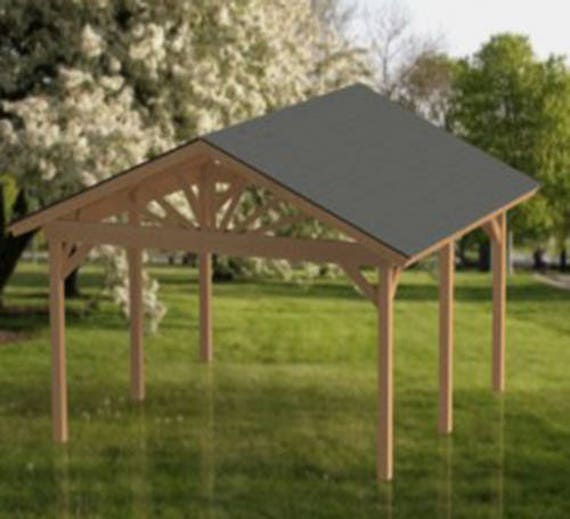 Gable Roof Plans: Gable Roof Gazebo Building Plans 16'x16' Perfect For