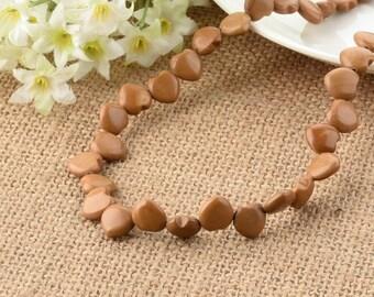 Petrified Wood Agate Gemstone Yellow Love Heart 10mm Loose Beads 16 inch Full Strand