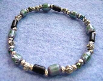 Gray Green Earth Tones Beaded Stretch Bracelet, Black Seed Bead Handmade Bracelet, Mens or Womens Jewelry Gift