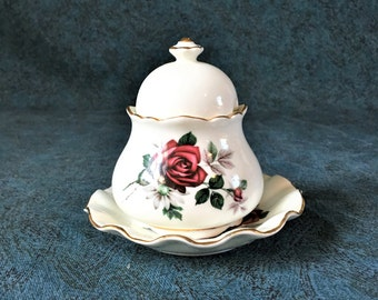 Vintage Royal Dover Red Roses Marmalade Jar and Underplate