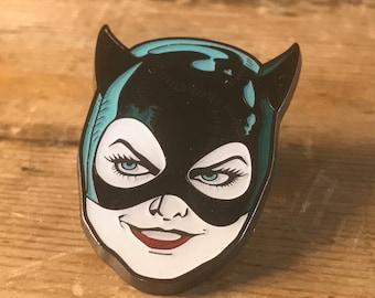 Cat Woman Hard Enamel Pin - Catwoman Stitches Lapel Metal Tim Burton Batman Horror Monster Movie Enid Ghost World Mask Sally