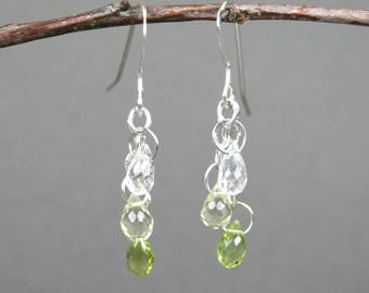 Peridot, lemon quartz, and crystal quartz stone briolettes in sterling silver dangle earrings, August birthstone