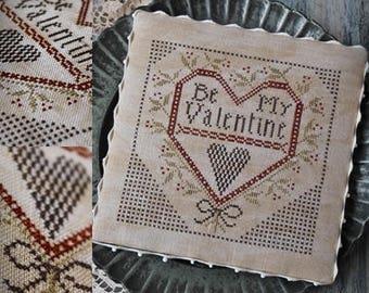 Be my Valentine / Primitive cross stitch pattern / PDF / Valentine's Day