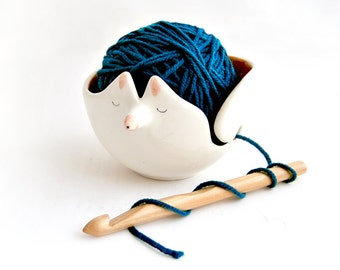 Ceramic Fox Yarn Bowl/ Knitting Bowl/ Crochet Bowl, Decorated in Orange Color with White Polka Dots Inside. Ready To Ship